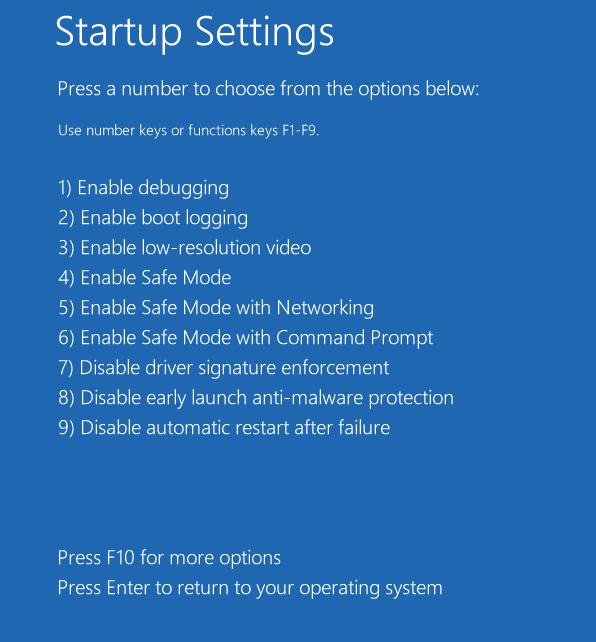 меню опций запуска Windows 8