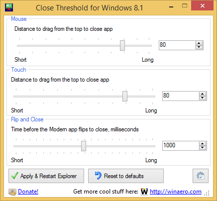 Close Threshold for Windows 8.1