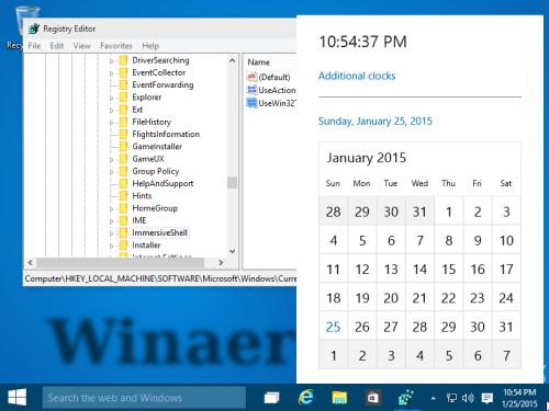 Новые часы и календарь в Windows 10 Build 9926