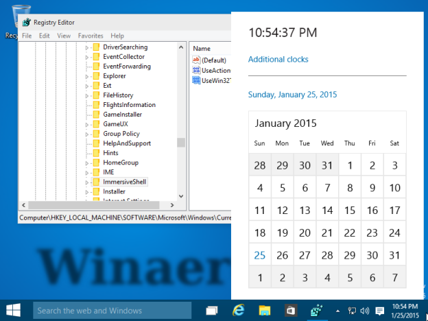 Новый календарь и часы в области уведомлений Windows 10