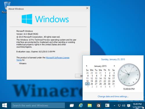 часы и календарь в Windows 10