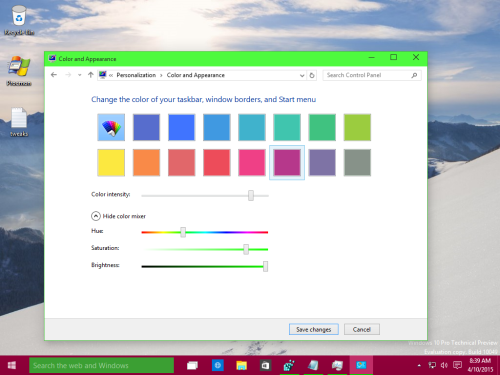04 set different color for taskbar Windows 10