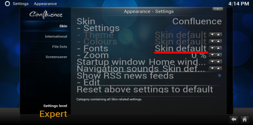 kodi skin default setting