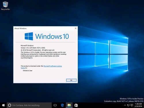 Windows 10 build 14271 winver